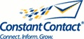 Blue constant contact logo with the words of the company name and an envelope flying through the air
