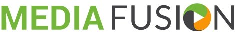 The words media fusion spelled out to create a logo for the company. green, blackish, and orange.