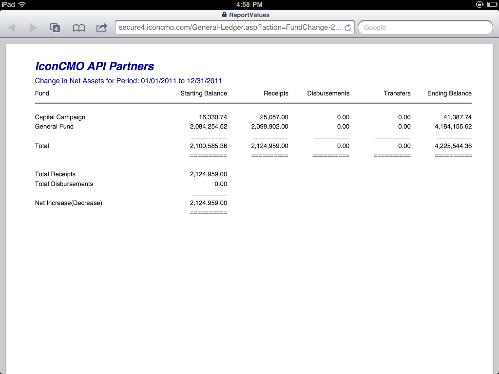 Church accounting net asset report