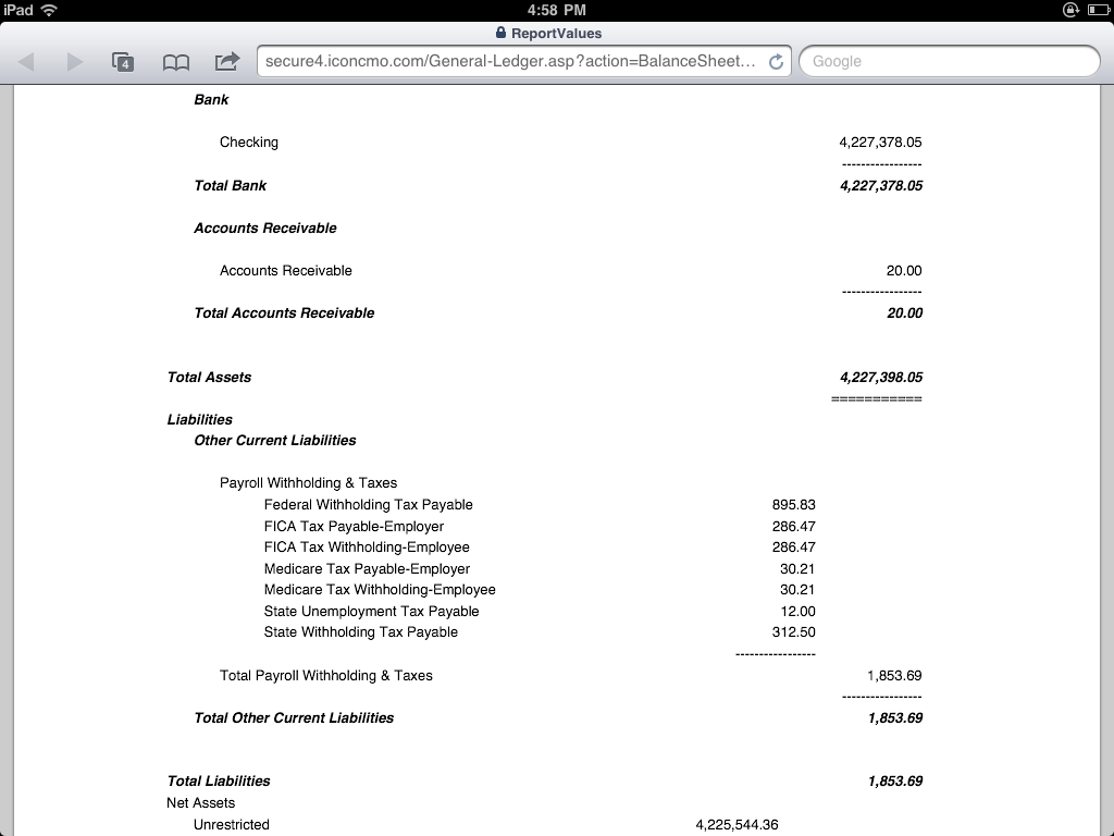 Church Accounting Balance Sheet