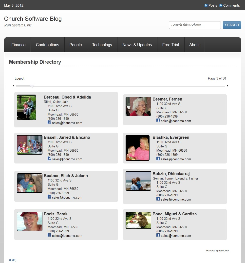 how to install the iconcmo online church directory on a self hosted