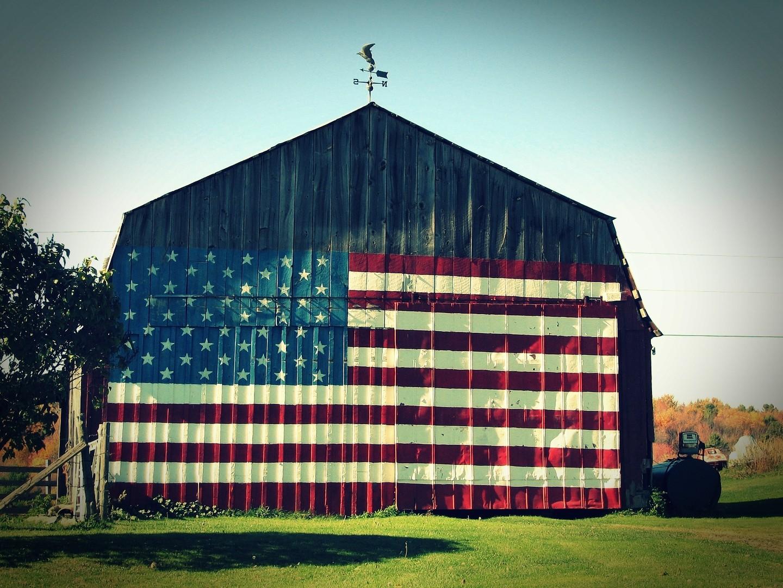 vintage barn with flag