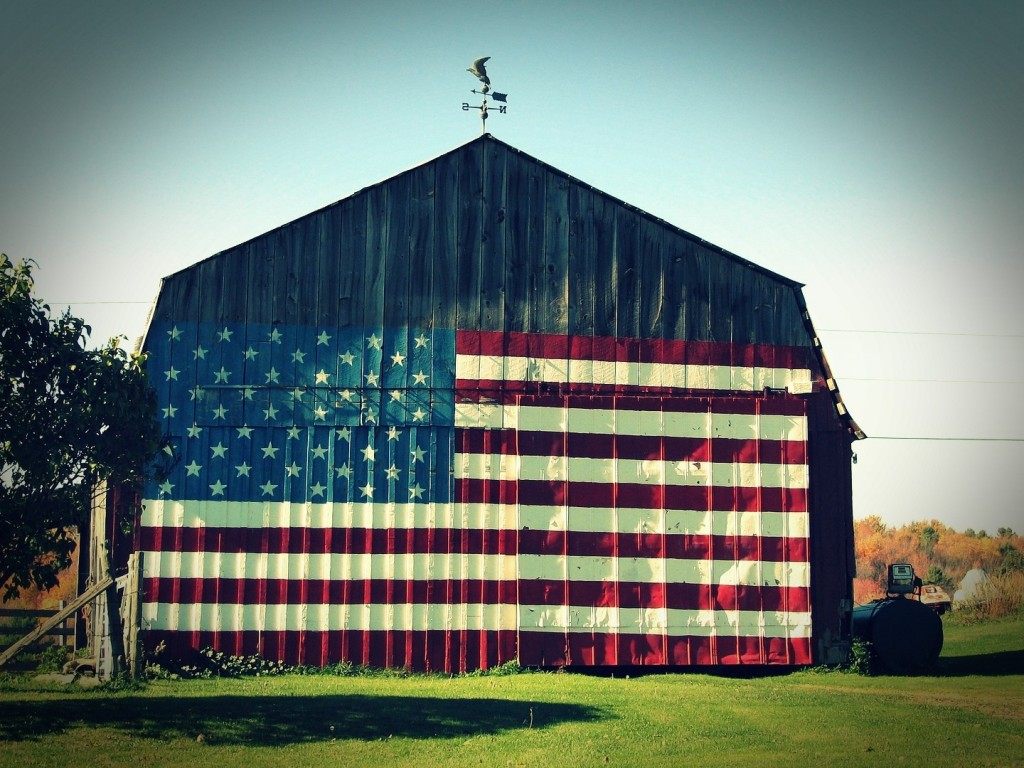 vintage barn with flag