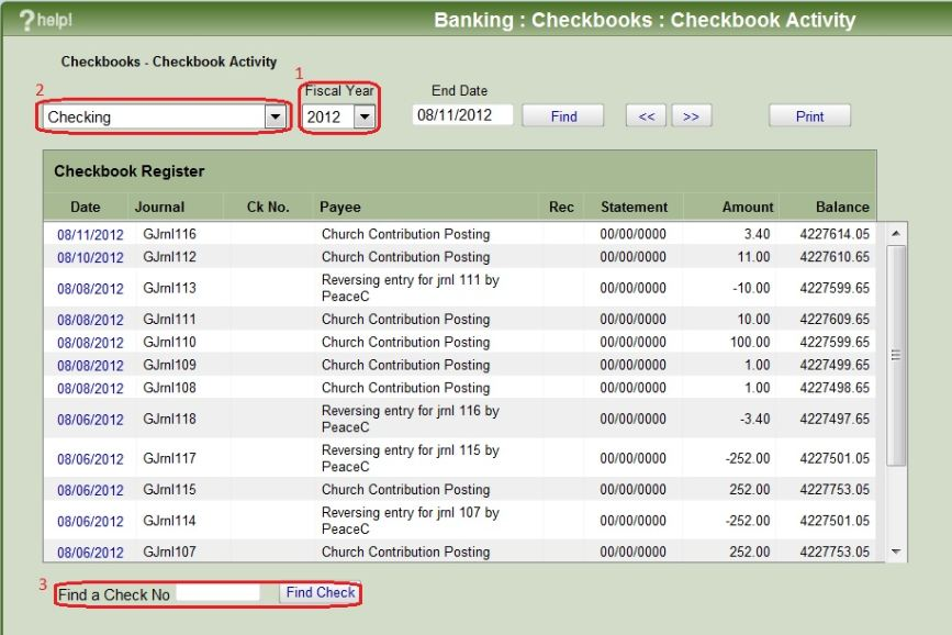 change to checkbook activity in iconcmo church management software