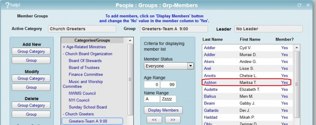 change to member groups in iconcmo church management software