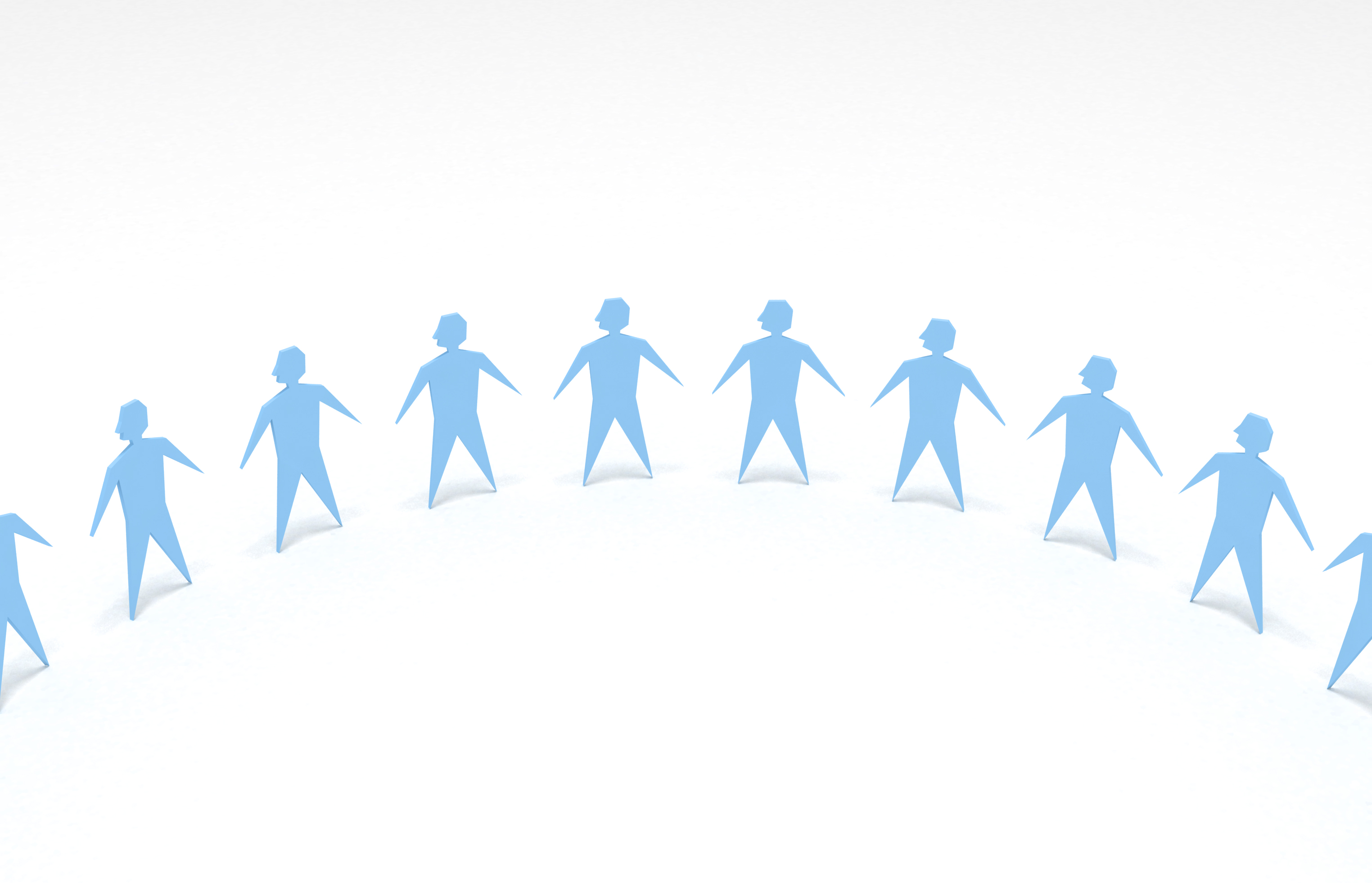 Forming stronger bonds in the community. Picture of several blue figures representing people in a horizontal line.