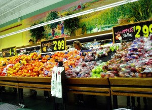 picture of a grocery produce isle which is symbolic of a consumer or producer type of person