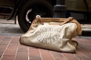 Bulk mail resources for churches - picture of vintage mail bag on the ground