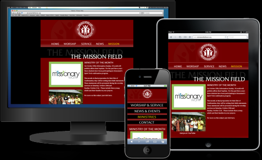 Church Website Mobile Tablet and PC
