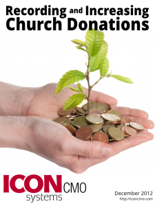 Recording and Increasing Church Donations ebook cover with hand and coins in the hand.