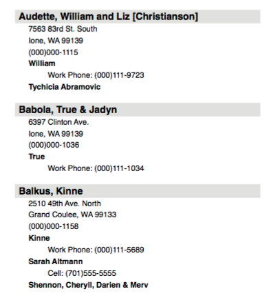 church directory showing three families contact information.