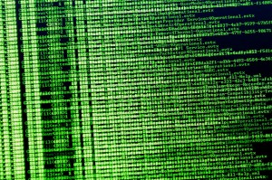 show binary code on the screen in green lettering like the movie Matrix