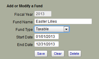 The picture shows how to add a fund into IconCMO with the fields in the image that say fund name, fund type, start date and end date.