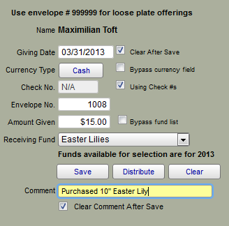 This images shows the fields that the user must use to add in donations for donors and the funds.