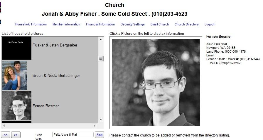 Parishioner's Module Online Directory