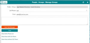 picture showing church group text messaging on Iconcmo church software
