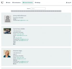 shows what the church online directory looks like when the member signs in under their household log in.
