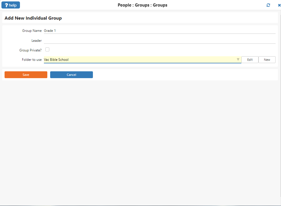 Shows IconCMO user interface for the create new group screen.