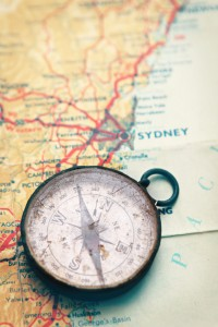 Map and compass of Aussie