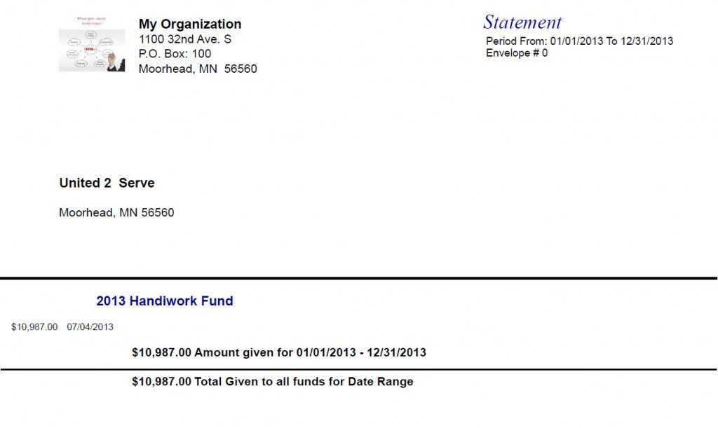 Sample Contribution Statment from IconCMO that shows the donor's address, amount given, and church address.