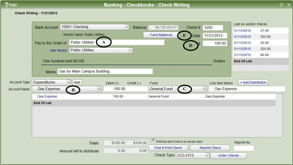 Accounting - write checks within church software