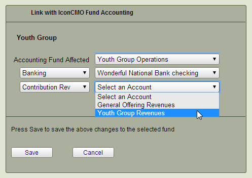 Set Accounting Link for General Fund contribution fund