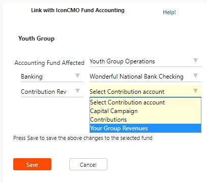 screen showing how to set up the youth group contribution fund and tie it to the accounting fund for it.
