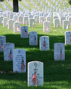 Arlington Cemetery Memorial Day  with the American flag placed in front of each grave