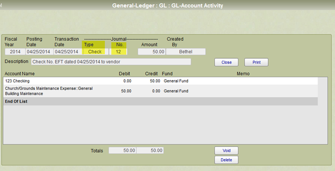 General ledger entry for a payment after it was posted
