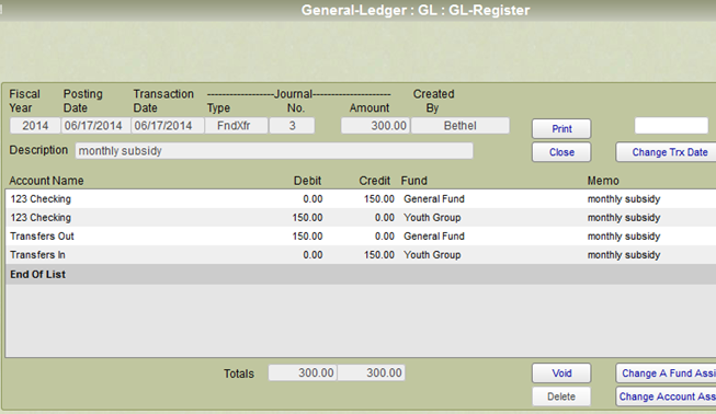 Showing the general ledger entries for a fund transfer.