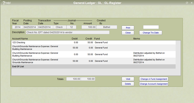 IconCMO GL register window showing both the original and correcting entries for an account reallocation.