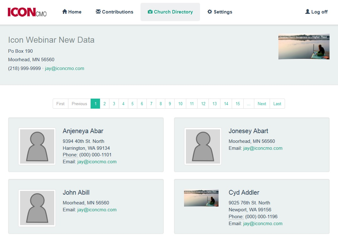 image of what a church directory looks like on IconCMO church management software using the church member portal.