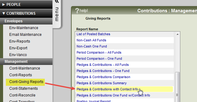 The contribution giving reports menu and report options.