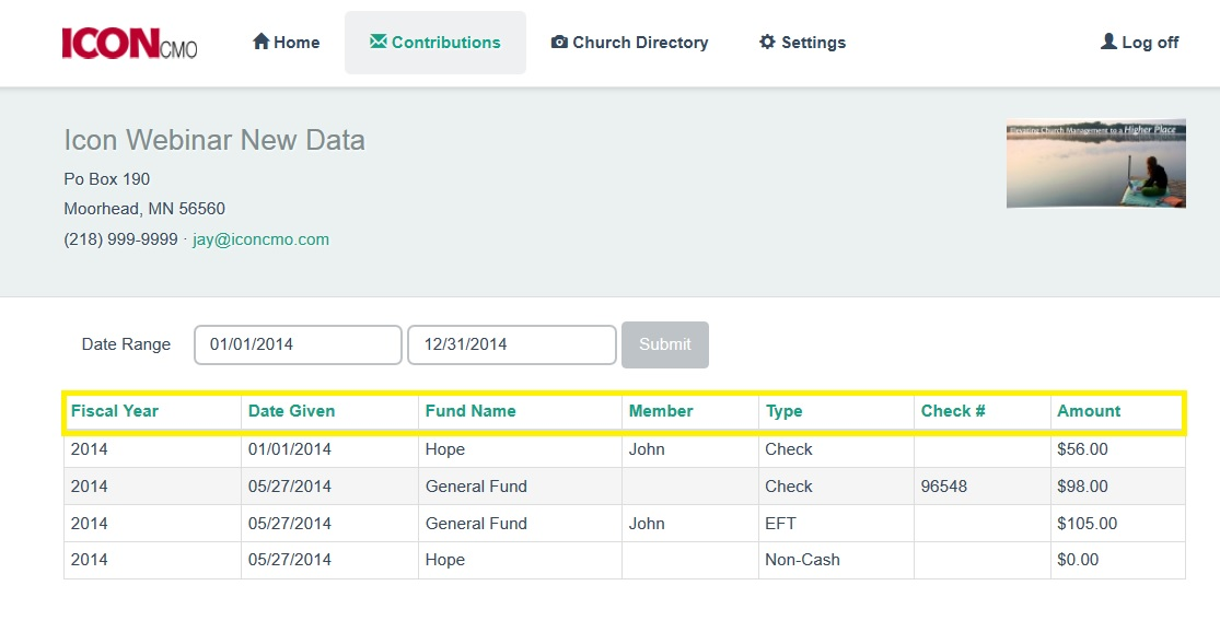 image of church member contributions for the IconCMO church management software