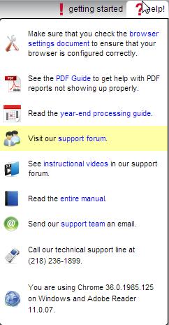 Customer Support Forum drop down menu selection