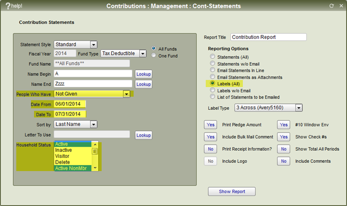 The Contribution Statements setup screen.