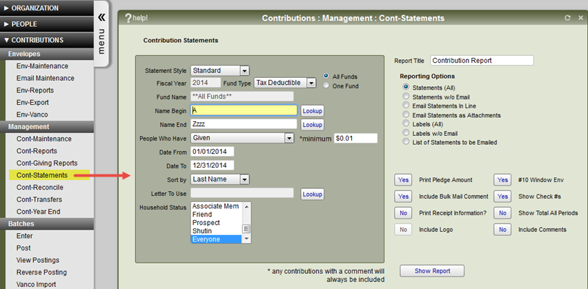 The Contribution Statements window showing the outlay of the screens