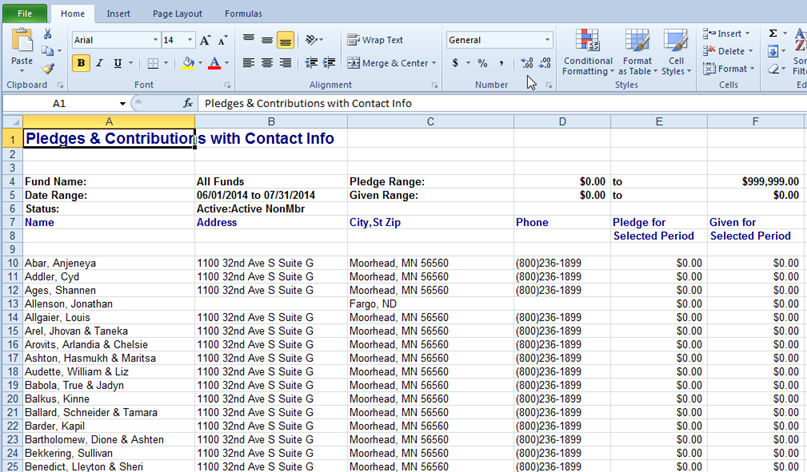Output from the Pledges and Contributions with Contact Info report shown in Excel format.