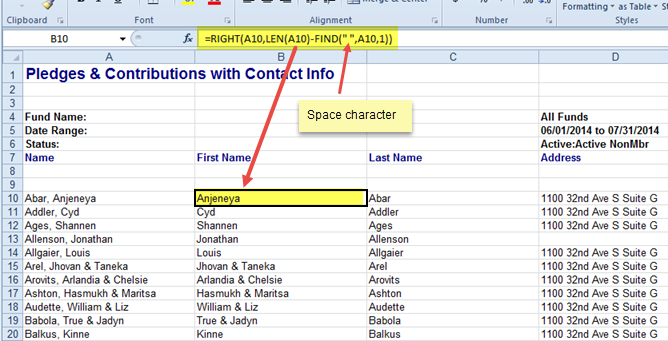Excel spreadsheet showing Excel formula for extracting the first name from column A.