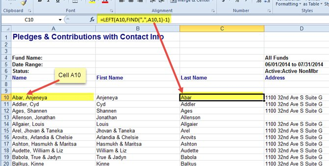 Excel spreadsheet showing Excel formula for extracting the last name from column A.