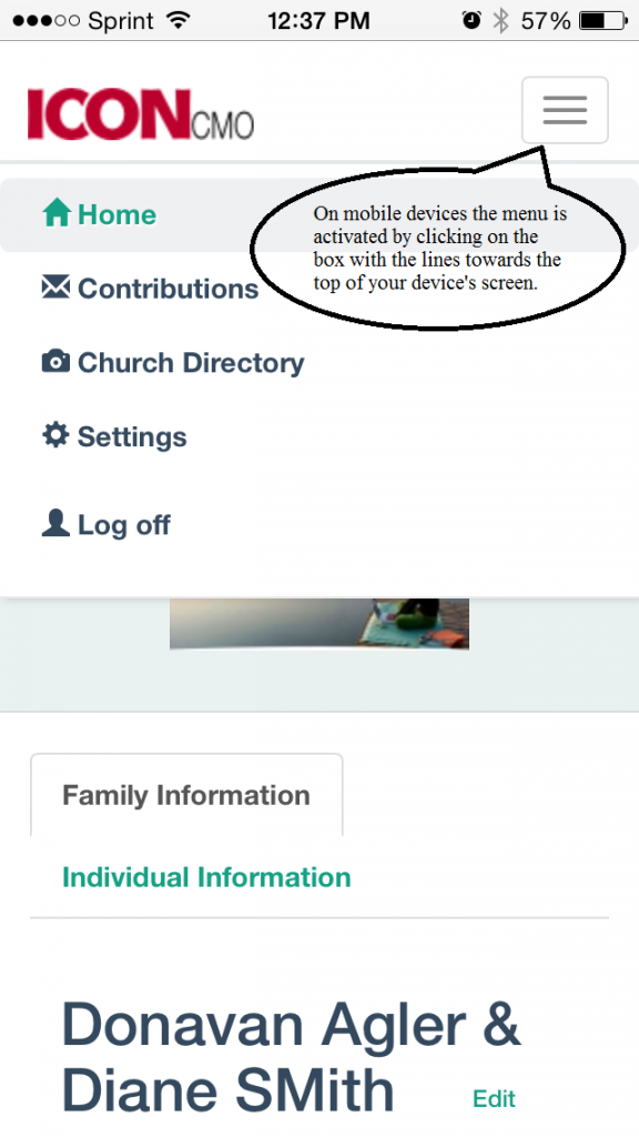 screen shot for the navigation of the member's self service module otherwise known as the parishioner's module.