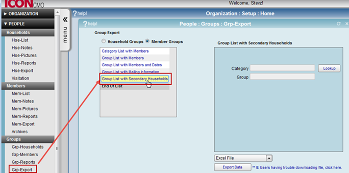 Figure one is a screen shot of the Group Export menu showing the new Group List With Secondary Households report