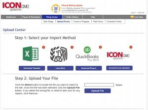 import method screen for 1099