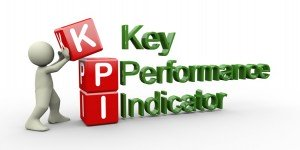 Key Performance Indicators commonly known as KPI. Each word spelled out in red and green.