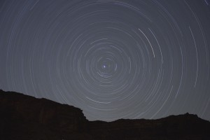 Night sky with swirl marks going in a circle.