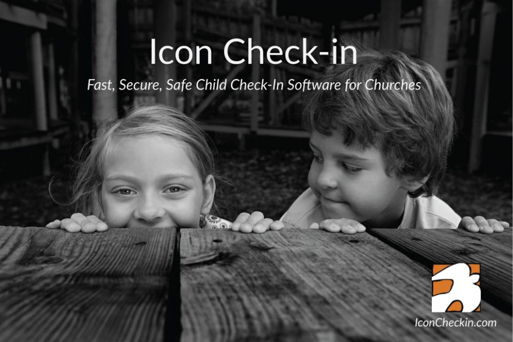 Icon Child Check-In kids and Logo which is on the bottom right. The text Icon Check-in fast secure, safe child check-in software for churches appears towards the top.