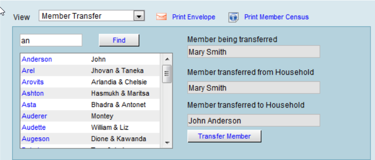 Member Transfer window UI