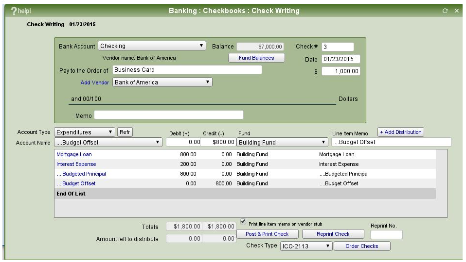 Check Writing Window IconCMO showing how to do a mortgage expense and hit the budget