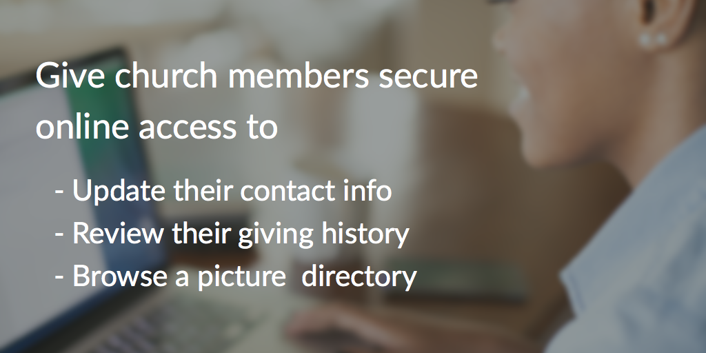 picture showing three reason to use the member port which are update their contact information, review their giving history and browse the directory all online.