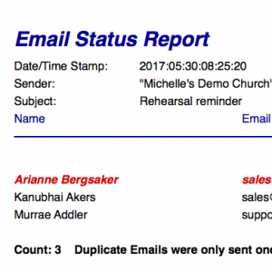 IconCMO church management software group email status report